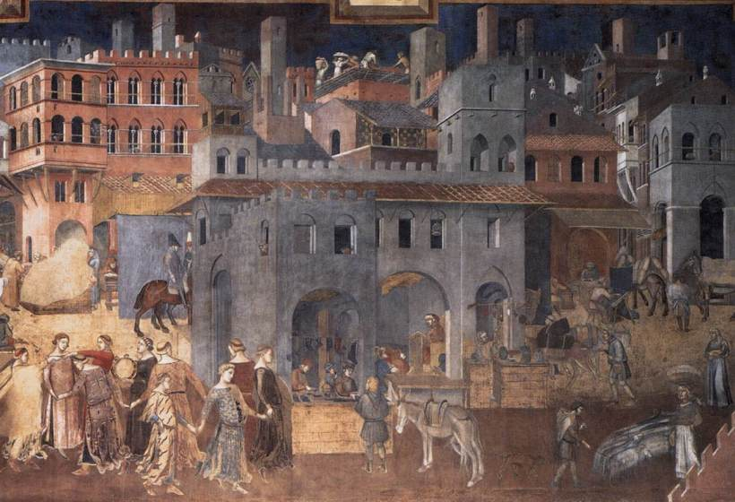 Ambrogio_Lorenzetti_-_Effects_of_Good_Government_on_the_City_Life_(detail)_-_WGA13491